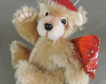 """Artist Teddy Bear, Red Butterfly Bear, OOAK Mohair and needle felted face, collectible, handmade teddy, fully jointed, 7.5"""" tall"""