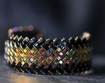 An Eye-candy, Herringbone Half Tila beads Bracelet,  Reversible, Handmade, Beaded Cuff, Miyuki crystal beads