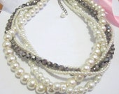 Chunky Pearl Necklace, Twisted Necklace, Multi Layered Bridal Statement Necklace, White Ivory Silver Wedding Jewelry