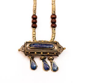 Indonesian Necklace with Lapis Stone