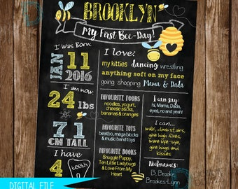 Bumble Bee Birthday Sign, Bumble Bee Party Sign, Bee Birthday Party, 1st Birthday Sign, Bee Day Birthday, Birthday Chalkboard, Milestone
