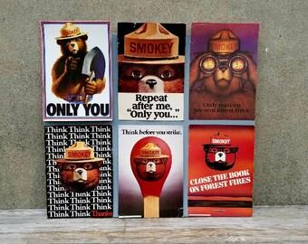 Six Vintage Smoky the Bear Cardboard Posters