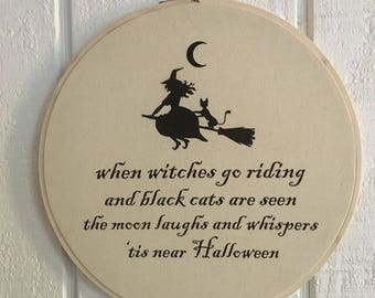 Halloween Witch Embroidery Hoop Decoration Poem