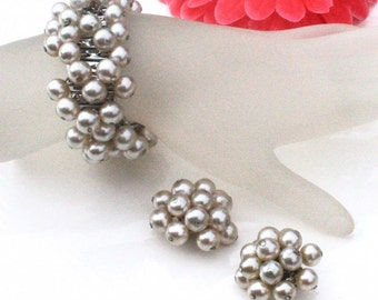 Cream White Glass Pearl Cha Cha Expansion Bracelet and Cluster Clip On Earrings ~ Vintage Demi Parure Set ~  Japan