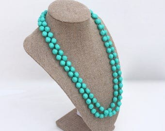 Teal Blue Green Bead Necklace ~ Long Vintage Sarah Coventry Textured Plastic Bead Flapper Style Strand