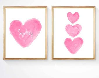 Hot Pink Nursery Art, Set of 2 - 8x10 Prints, Hot Pink Print, Kids Personalized, Hot Pink Wall Art, Girls Bedroom Art, Girls Room Decor