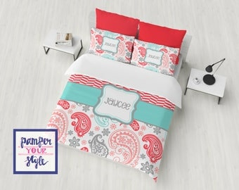 College Dorm Bedding Set   Personalized Teal And Coral Comforter Or Duvet    Aqua, Coral