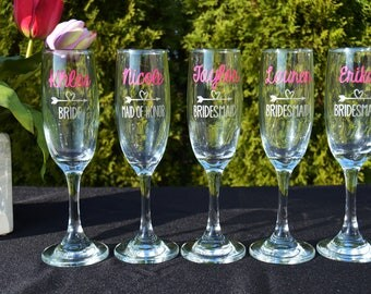 Bridesmaid Glasses - Maid of Honor Toasting Flutes - Personalized Champagne Glasses - Bridesmaid Proposal Gift - Wedding Party Favors