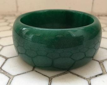Chunky Green Jade Bangle
