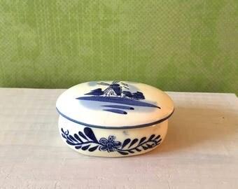 Holland porcelain trinket box, Holland handpainted,Blue and White Holland porcelain