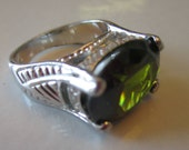 Vintage GG Lime Green Massive Oval Stone and CZ Stones in Silver Setting, SIZE 8, Gift for Her, Statement Ring,