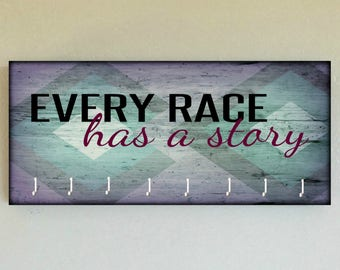 """Race Medal Holder /  Race Medal Hanger. """"Every Race has a Story""""  Wood Wall Mounted Wood Organizer. CUSTOMIZATION Available"""