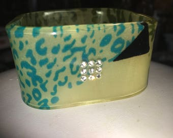 1960s Vintage Lucite High End Designer Leopard Print Rhinestone Wide Retro Bracelet Stunning Beauty Ready for Wear!