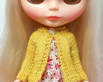 BLYTHE doll hand knit wool cardigan sweater - sunshine yellow