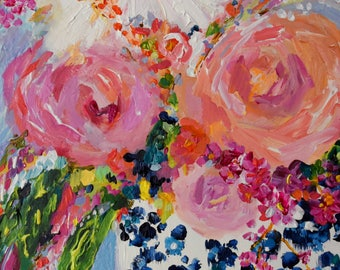 Still Life, Blue and White Ginger Jar Painting, Colorful expressionistic flowers pink and coral peonies by Carolyn Shultz