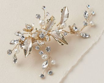 Gold Wedding Hair Clip, Floral Bridal Hair Clip, Pearl Hair Clip, Rhinestone Hair Clip, Gold Headpiece, Hair Comb, Bridal Clip ~TC-2276