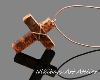 Wood Cross Pendant - Burl Wood Cross Necklace - Cross Necklace - Men's Cross Necklace - Cross Jewelry - Wooden Cross - Religious Jewelry