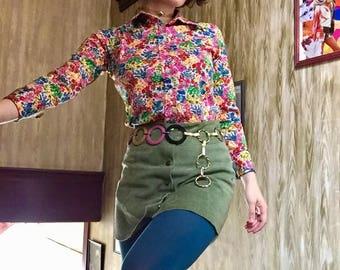 SALE ~ Vintage 70s Flower Shirt