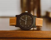 Personalized Wood Watch, Leather Strap Wood Watch, Men's Gift, Gifts For Dad, Engraved Wood Watch - CST-BRLY