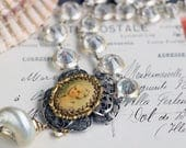 RESERVED for ALURA - Marie Antoinette Necklace, with Antique Button, Repurposed Buckle, Rhinestone Glass Chain Layaway