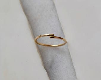 Gold Wrap Ring Kiss Ring 14k Solid Gold Ring Gold Love Ring Anniversary Ring