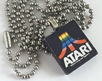 Atari Scrabble Tile Necklace with Stainless Steel Ball Chain - vintage gaming - video games