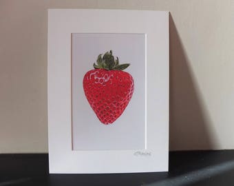 Strawberry mounted art print painting