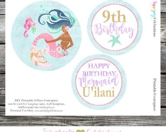 DIY 3 Piece Centerpiece Set - Mermaid Centerpiece -Hanging Sign -Birthday -Baby Shower -Bridal Shower Mermaid Centerpiece Watercolor Mermaid