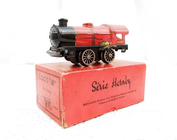 Vintage Working Hornby Clockwork Wind Up Tin Train H 0 Gauge 35 mm The Loco M with Original Box Made in France by Meccano Circa 1930s