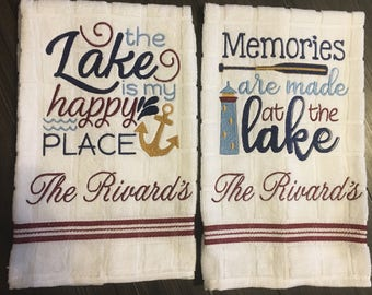 PERSONALIZED Nautical Dish Towel Set/Lake /Wedding REGISTRY /Cottage Chic/Embroidered Kitchen Set,  Boat Personalized Gift//Housewarming Set