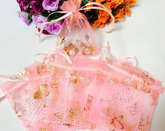 20 Butterfly Organza Bags Pink 9x7cm Gold Butterfly Matching Drawstring Wedding Baby Shower Jewelry Potpourri Soap Making Bridesmaid Sachet