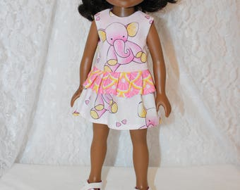 Back to School Elephant and Pink Lemon Print Dress with Sandales. Handmade to fit the wellie wisher and Heart to Heart doll Free Shipping