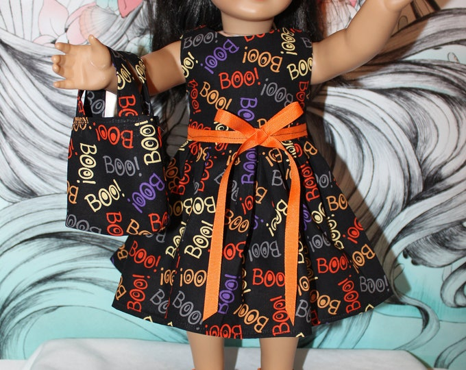 Ready for Halloween! This Dress is Made for Dolls like American Girl, Our Generation Boo Print Dress, Bag and Shoes, FREE SHIPPING