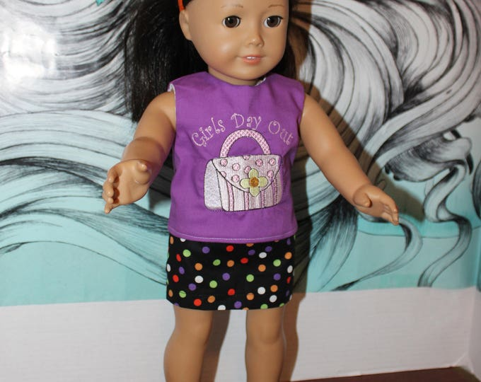 "Ready for School 18"" doll clothes handmade to Fit like American Girl, Custom Embroidery Blouse Mini Skirt and Sandals FREE SHIPPING"