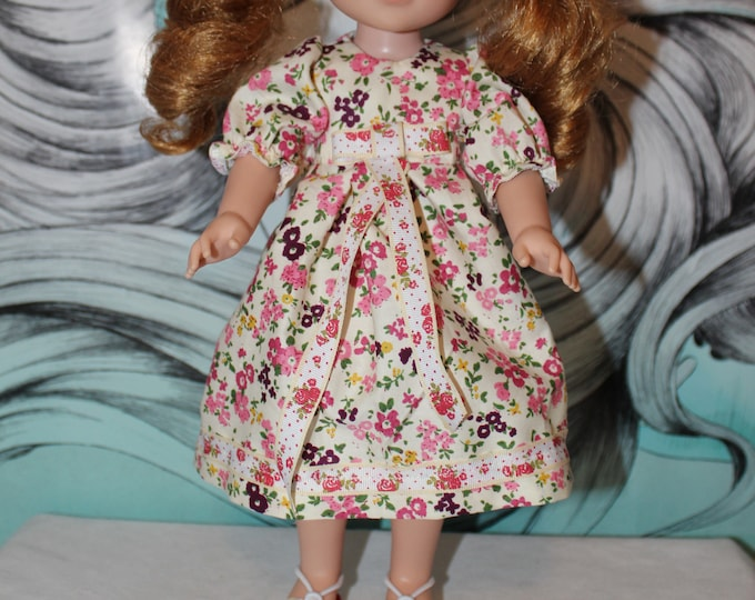 Back to School! Flowery print Dress and Bow/ Shoes Included. Handmade to fit the wellie wisher and Heart to Heart doll FREE SHIPPING