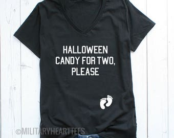 Halloween candy for two maternity halloween Tshirt, trick or treat maternity Tshirt, halloween mom to be Tshirt
