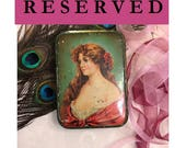 RESERVED - Beautiful c 1900 Antique Tin Box, Pretty Lady in Red, Green Art Nouveau Box, Vintage Tin Small Decorative Keepsake Trinket Box