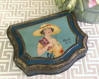 Lovely 1920s Pretty Lady Flapper Antique Confection Tin Box, Sweets Candy Box, Chocolate Box, Vintage Tin Box, Pascalls