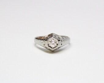 Art Deco 18k White Gold Diamond Solitaire Ring - .20ct Old European Cut Diamond - All Original