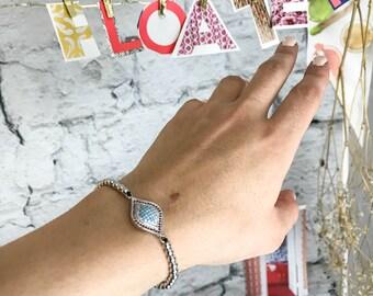 Evil eye bracelet, evil eye jewelry, blue purple jewelry, zirconia bracelet, stackable bracelet, holiday gift, gift for her