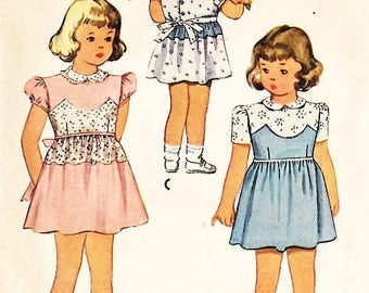 McCall 6079 Girl's Vintage 1940s Dress Sewing Pattern