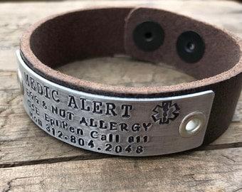 Leather Medical Alert Bracelet Diabetic Medical Bracelet Mens Medical Diabetes bracelet Womens Medical ID