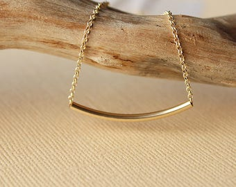 Curved gold bar necklace, bar necklace, curved, curved bar, gold tube necklace, bridesmaid gift simple bar necklace