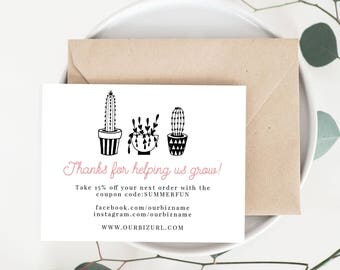 INSTANT Business Thank You Cards, Editable PDF Printable Packaging Inserts for Online Shops, Etsy Sellers, Cactus Succulent Plant Branding