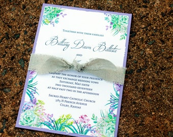 Wedding invitations with lavendar backing and succulents, botanical invitation set, Rustic wedding invitations with botanical succulents