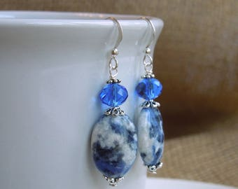 Sodalite and Crystal Earrings - Blue Natural Stone Dangle Earrings - Silver Pewter - Sterling Silver Option