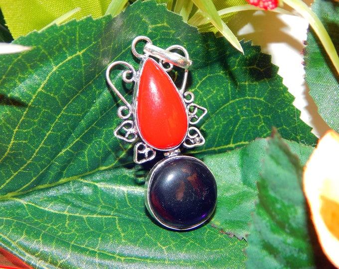 Carpathian Sanguine Vampire inspired vessel - Handcrafted Coral Amethyst pendant necklace