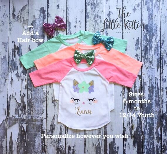 Kitten Shirt, Cat Shirt, Unicorn Shirt, Unicorn Shirts, Girls Unicorn Shirts  Girls Birthday Shirt, Cat Shirt, Bunny Shirt, Personalized Cat