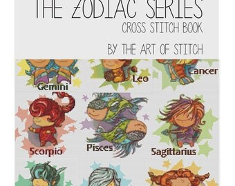 Cross Stitch Pattern PDF Set Zodiac Series, Astrology Cross Stitch, Art Cross Stitch (BOOK01)