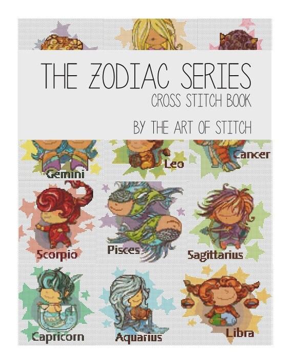 Cross Stitch Pattern PDF Set Zodiac Series - Astrology Cross Stitch - Instant Download (BOOK01)